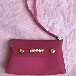 Furla Women's Pink Plastic Wristlet Pouch Bag.